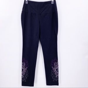 Chico's Zenergy Black Leggings Purple Embroidery
